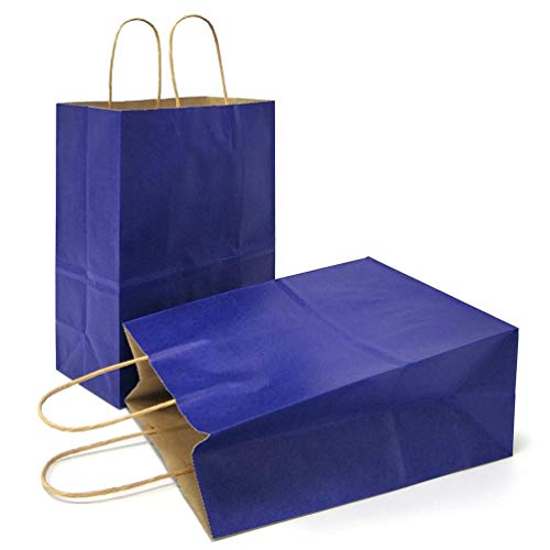 AZOWA Gift Bags Navy Blue Kraft Paper Bags with Handles Party Supplies Set of -