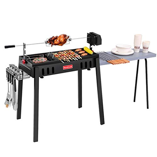Barbecue Grill Charcoal Tool Grill Camping Beach BBQ, Collapsible Full Accessories Rotating Grill Tool Set (Color…