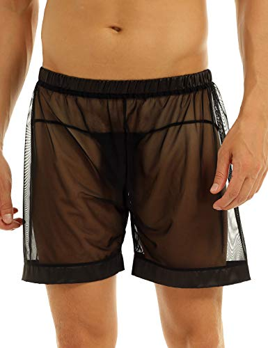 CHICTRY Men's See-Through Mesh Loose Lounge Boxer Shorts (XX-Large(Waist37.0-60.0
