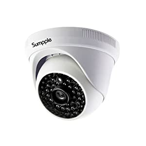 Sumpple Wired/Wireless Wifi 720P Indoor IP Video Dome Camera, Network Security Camera, Night Vision, Motion Detection, Video Recording for Home, Office, Business, Support IOS, Android or PC White from Sumpple
