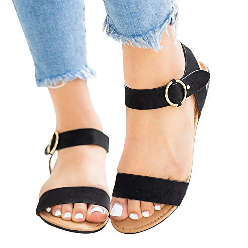 (LAICIGO Women's Soft Faux Leather Open Toe and Ankle Strap Buckle Flat Sandals)