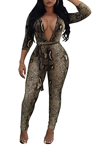 Women's Tropical Floral Print 3 4 Sleeve Long Pants Long Deep V Neck Nightwear Jumpsuit Romper - Animal Print Leg Sexy