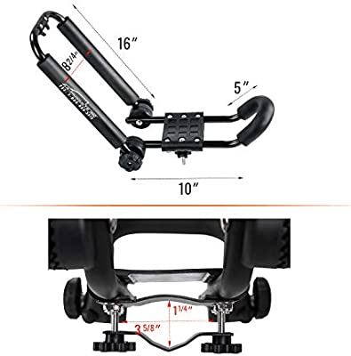 AA-Racks J-Bar Rack Roof Top Mount with 8 Ft Lashing Straps Tie Down RatchetFolding Carrier for Your Canoe SUP and Kayaks on SUV Car Truck