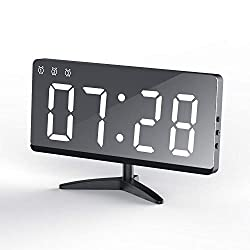 EVILTO Table Alarm Clock, 6.8 Mirror Surface Decorative Digital Modern Alarm Clock with Temperature, 12/24H Mode, Snooze, Dimmer,Adjustable Alarm Volume for Bedrooms Bedside Desk(White)