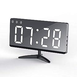EVILTO Table Alarm Clock, 6.8 Mirror Surface Decorative Digital Modern Alarm Clock with Temperature, 12/24H Mode, Snooze, Dimmer,Adjustable Alarm Volume for Bedrooms Bedside Desk(White)