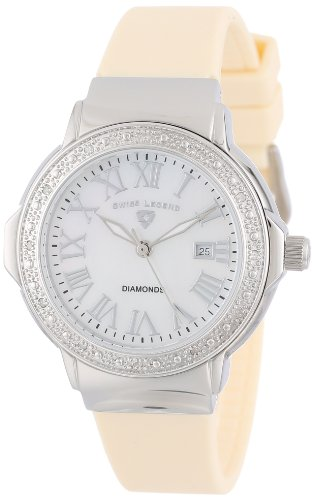 Swiss Legend Women's 20032D-02-BG South Beach Mother-Of-Pearl Dial Diamond Accented Beige Silicone Watch