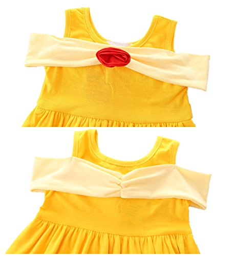 AmzBarley Girls' Belle Costume Party Dress up Clothes Flower Princess Dresses Yellow Size 6 by AmzBarley (Image #3)
