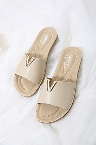Beach Flops Summer Women apricot Holiday Sandals D2C Open Toe Flip Beauty faHqTH