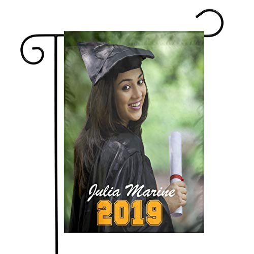 ShowRoom16 Custom Graduation Garden Flag 12x18 Inch Graduate Photo Yard Flag Personalized Photo Graduation Flag Senior Class Class of 2019 -