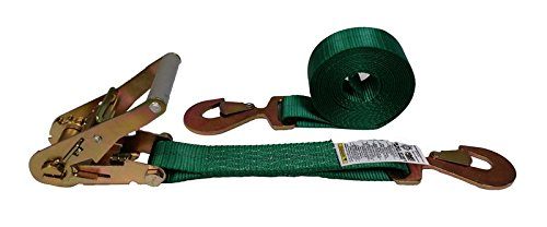 Cargo Equipment - Cargo Equipment Corp. 8 Foot X 2 Inch Green Ratchet Strap with Flat Snap Hooks