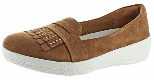 Fitflop Donna Con Borchie Fringey Sneakerloafer Scarpe Tan