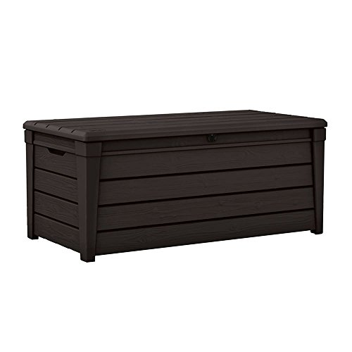 MD Group Outdoor Storage Box Garden Bench Espresso Brown Weather Resistant Waterproof Lockable Lid Patio Trunk by MD Group