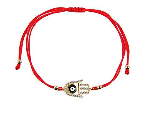 Bracelet Hamsa Red String Gold (Hamsa Hand Evil Eye on Red String Adjustable Bracelet (Gold Plated))