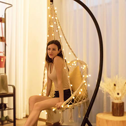 VIVOHOME Hanging Hammock Chair with 39 ft Long LED Lights for Indoor Outdoor, L31.5 x W23.6 x H53.1 Inch, Stand Not Included