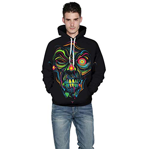 Multicolore E Halloween con da 3D con Skeleton Manica Donna Cappuccio Felpa Magliette Maniche Donna da Lunghe Cappuccio Uomo Lunga Felpe Sexy R4q7wfn6T