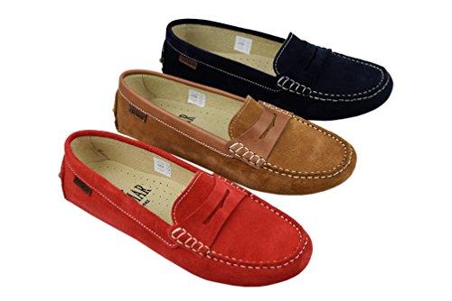 Zerimar Damen Mokassins, Lässigen Stil, Bequem und Flexibel, Leder Damen Schuhe, Frau Leder Schuh 100% Leder Farbe Marineblau Marineblau