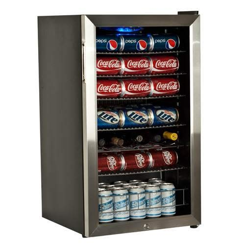 EdgeStar BWC120SSLT 103 Can and 5 Bottle Freestanding Ultra Low Temp Beverage Cooler Dual Pane Glass Door