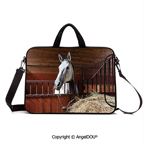 AngelDOU Customized Neoprene Printed Laptop Bag Notebook Handbag Young Mare Eating Hay in Stable Rustic Barn Ranch House Decorative Compatible with mac air mi pro/Lenovo/asus/acer Dark Olive and ()