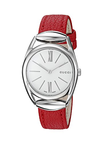 Gucci Women's Swiss Quartz Stainless Steel and Leather Dress Watch, Color:Red (Model: YA140501)