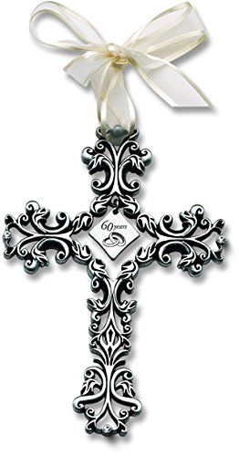 Diamond Wedding Cross - Cathedral Art FC321 60 Year Anniversary Wall Cross, 5-Inch High