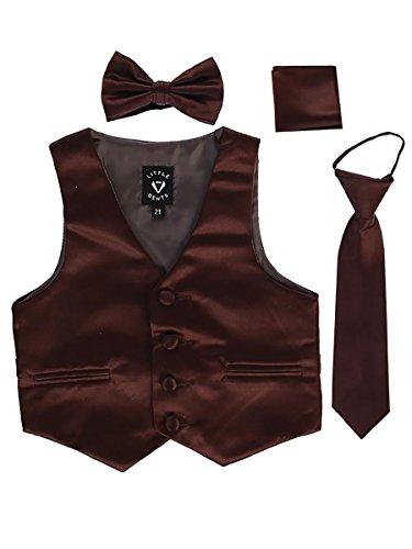 Brown Little Boys 4 Piece Formal Satin Vest Set Zipper Tie Bowtie Hanky 2T