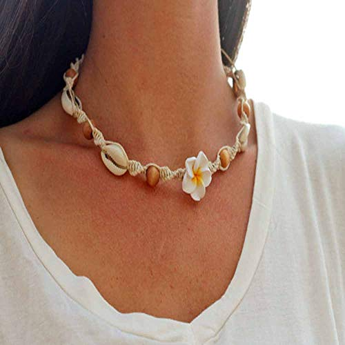 Jovono Personality Clavicle Necklace with Handmade Seashell And Flower for Birthday Friendship Jewelry Mothers Day Gift