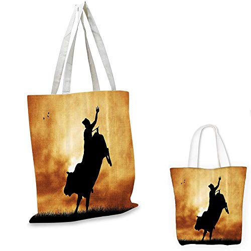 (Western canvas shoulder bag Bull Rider Silhouette at Sunset Dramatic Sky Rural Countryside Landscape Rodeo canvas lunch bag Amber Black.)