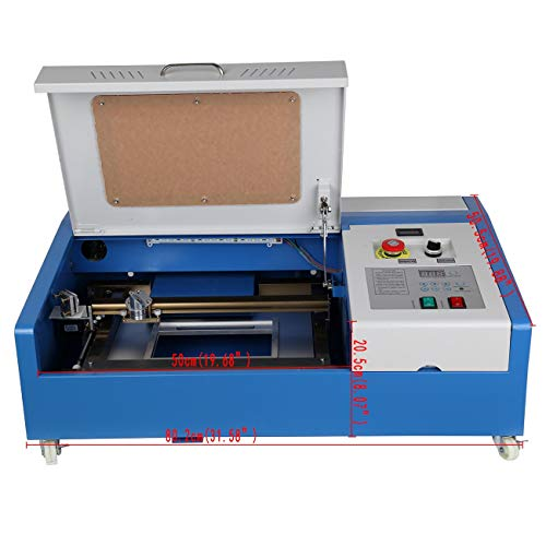 """Iglobalbuy 12""""x 8"""" 40W CO2 Laser Engraving Cutting Machine Engraver Cutter DIY USB Port with Movable Wheels and Exhaust Fan"""