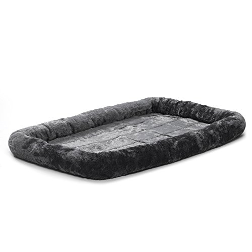 42L-Inch Gray Dog Bed or Cat Bew w/ Comfortable Bolster | Ideal for Large Dog Breeds & Fits a 42-Inch Dog Crate | Easy Maintenance Machine Wash & Dry | ()