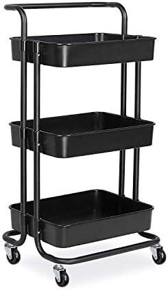 キッチンワゴン 3層ユーティリティカートローリングカートハンドルホイールストレージキッチン用キッチンコーヒーバーストレージオフィスバスルーム 家庭用 キッチン 寝室 オフィス (Color : Black, Size : 42×35.5×86.5)