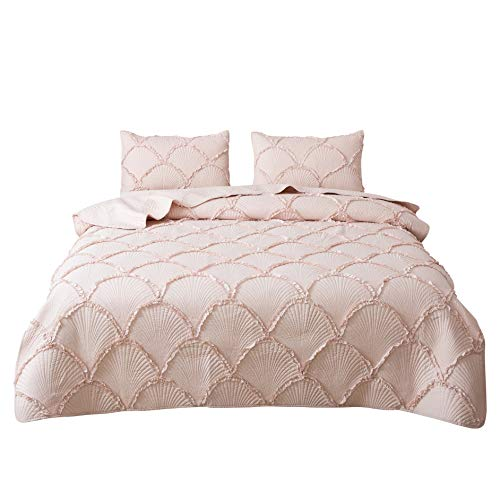 FELIX ANGELA HOME 3-Piece Bedding Quilt Set-Elegant Ruffle Stripe Quilt-Luxurious Brushed Microfiber Solid Color Coverlet Set -Queen Size(88