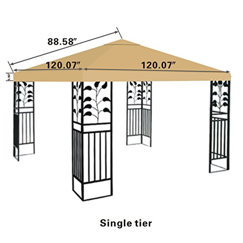 STRONG CAMEL Replacement 10'X10'gazebo canopy top patio pavilion cover sunshade plyester single tier-BEIGE