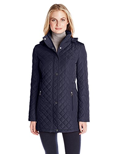 Calvin Klein Women's Classic Quilt Diamond Body Pattern and Hood, Navy, -