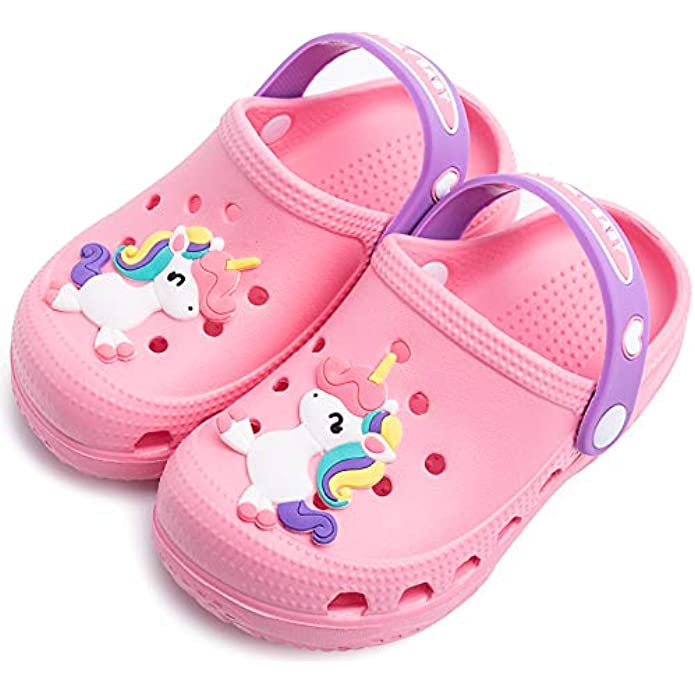 Kids Boys Girls Comfort Unicorn Sandals Lightweight Slip On Water Shoes Pool Garden Clogs Cute Summer Beach Slippers for Toddler