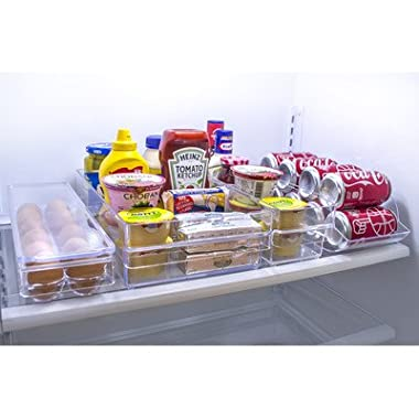Sorbus Refrigerator and Freezer Storage Organizer Bins Stackable Pantry Storage with Handles, 4 Piece Set