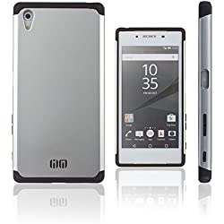 Lilware Angular Armor Hard Plastic Case for Sony Xperia Z5. Rugged Dual Layer Protective Cover. Black / Silver Color
