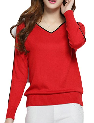 Knit Sweater Soft Pullover V amp;W Fashion M Red Neck amp;S Women's SOPxqP