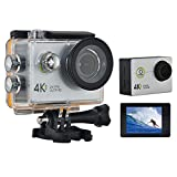 Rundaotong-US 4K WIFI Sports Action Video Camera Ultra HD Waterproof Digital Cam Car Dash Cam Full HD 1080P 12MP 170 Degree Wide Angle with 2 Inch LCD Screen - Silver