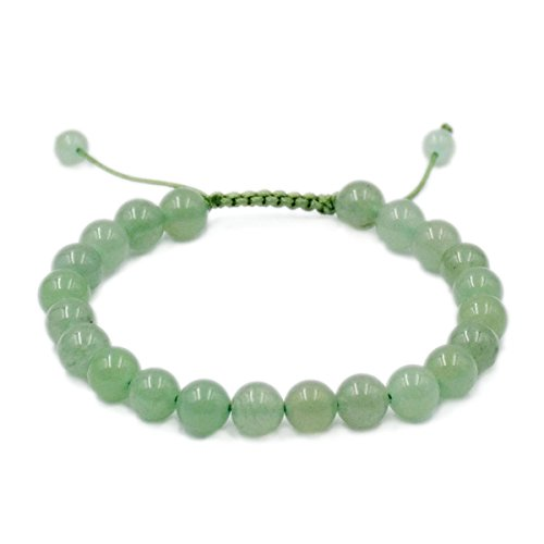 AD Beads Natural 8mm Gemstone Bracelets Healing Power Crystal Macrame Adjustable 7-9 Inch (Green Aventurine)