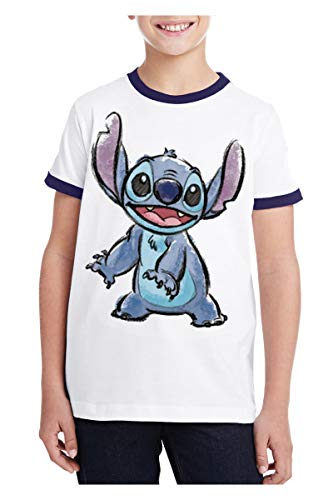 (Disney Youth T-Shirt Stitch Watercolor White Navy)