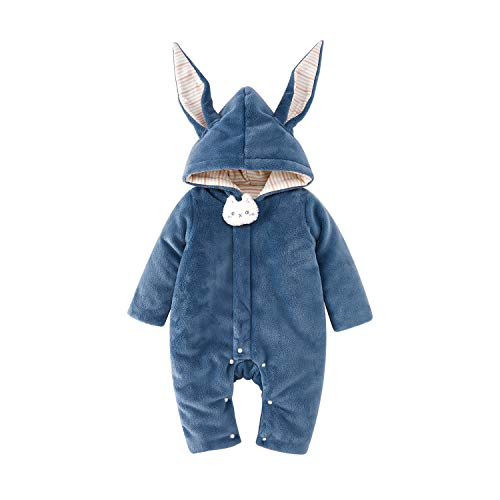 pureborn Baby Romper Winter Thicken Coveralls Cartoon Hoodie Cute Doll Bodysuit Snowsuit Onesie Outfit Blue 3-6 Months