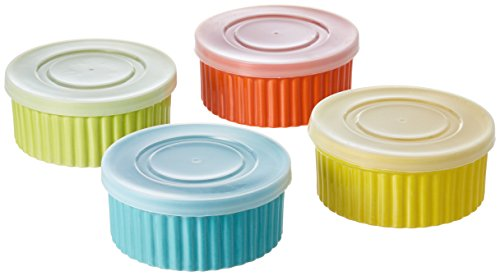 8 Piece, 8 oz. Variety Color Ceramic Ramekin Serve And Storage Set