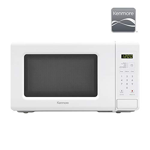 Kenmore Elite 70722 0.7 cu. ft Compact 700 Watts 10 Power Settings, 6 Heating Presets, Removable Turntable, ADA Compliant Small Countertop Microwave, White