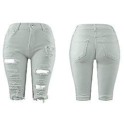 Summer Denim Shorts Women Elastic Hole Plus Size Jeans Short Women Shorts White L United States