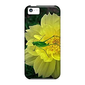 Iphone 5c Cover Case - Eco-friendly Packaging(green Little Fella On Yellow Flower)