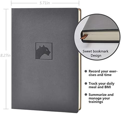 Evolway Fitness Journal and Planner,100 Days Diet and Workout Log, Gray Panther/Yellow Flash/Purple Lotus Design, Leather Cover, Sturdy Binding, Thick Pages & Laminated 3