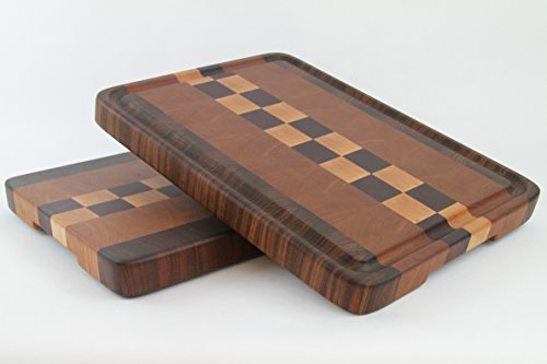 Handcrafted Wood Cutting Board - End Grain - Maple, Cherry, Purpleheart & Walnut. No slip and easy grip. Optional juice groove. Chef/cook!