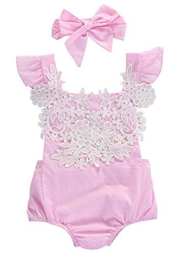 Newborn Infant Baby Girl Lace Floral Bodysuit Romper Headband Outfit Set Sunsuit