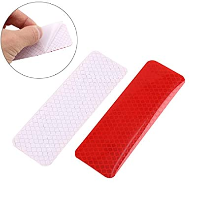 X AUTOHAUX 6pcs Automotive Reflective Stickers Night Visibility Safety Reflective Rear Bumper Tape Universal Adhesive for Car 12 x 4cm Red: Automotive