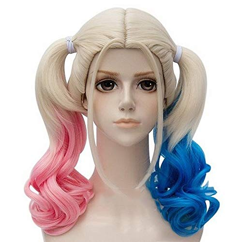 Suicide Squad Harley Quinn DC Cartoon Curly Blonde Blue Pink Mix Long Synthetic Hair Cosplay Full Wigs Party Wigs -
